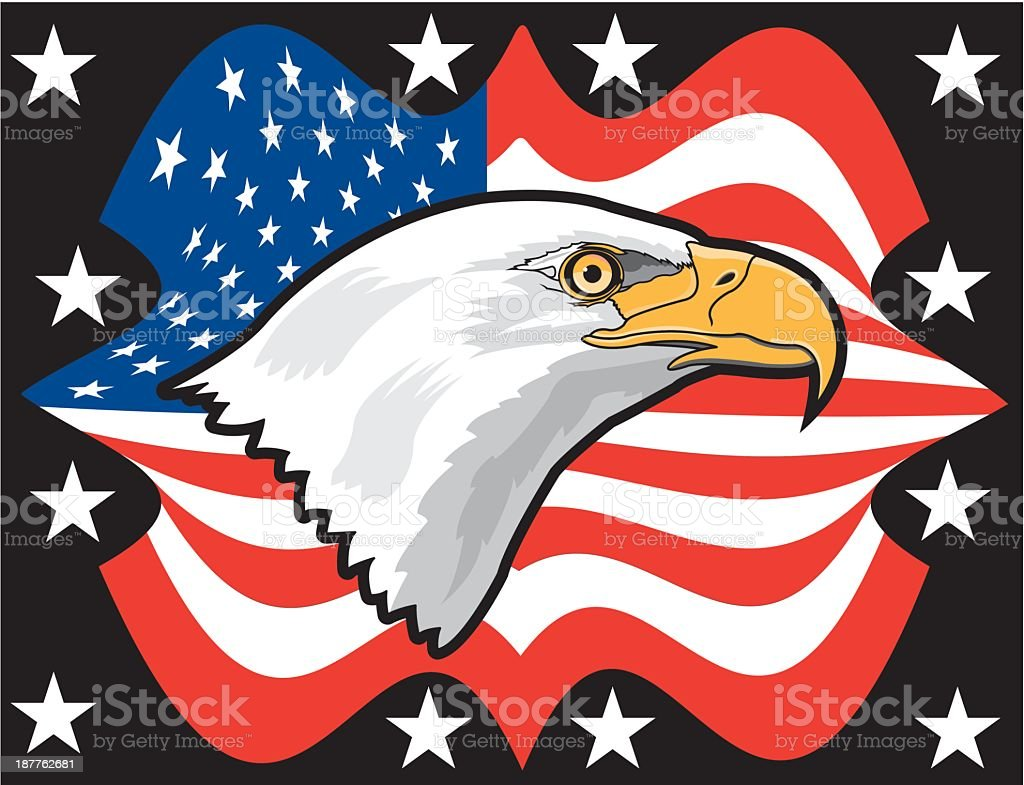 Bald Eagle Against the American Flag royalty-free stock vector art