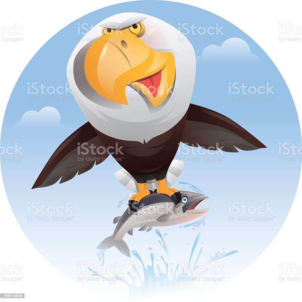 bald eagle catching salmon vector art illustration