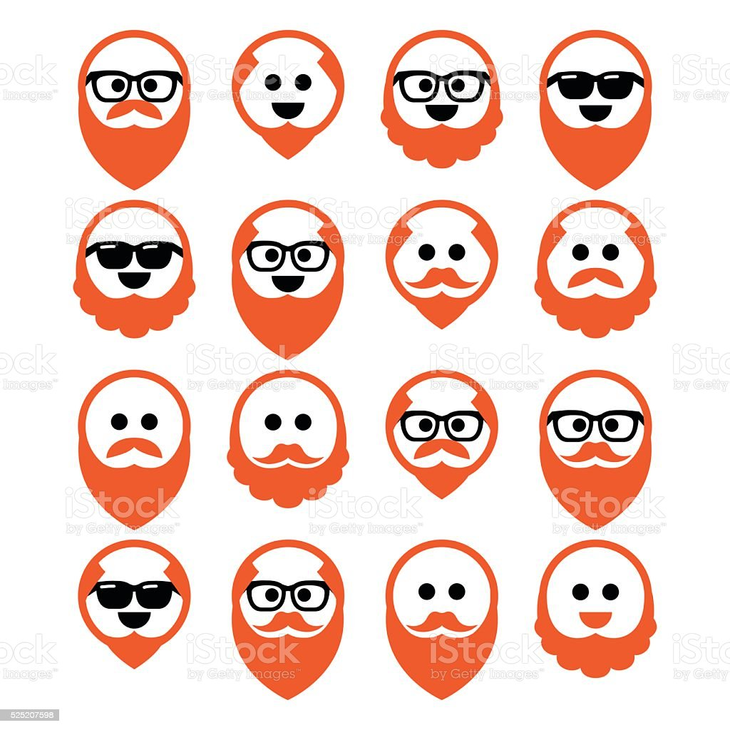 Bald man with ginger beard and mustache icons set vector art illustration