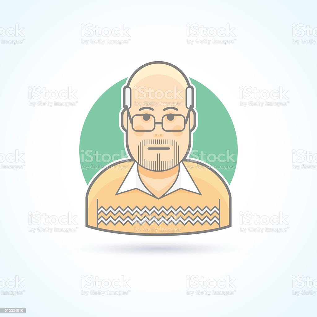 Bald man with glasses in a sweater icon. vector art illustration