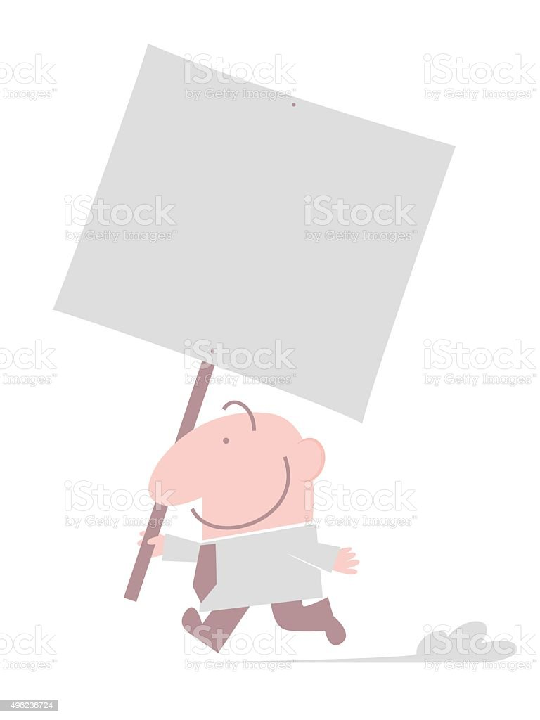 bald smiling man (Businessman) holding a blank sign and running vector art illustration