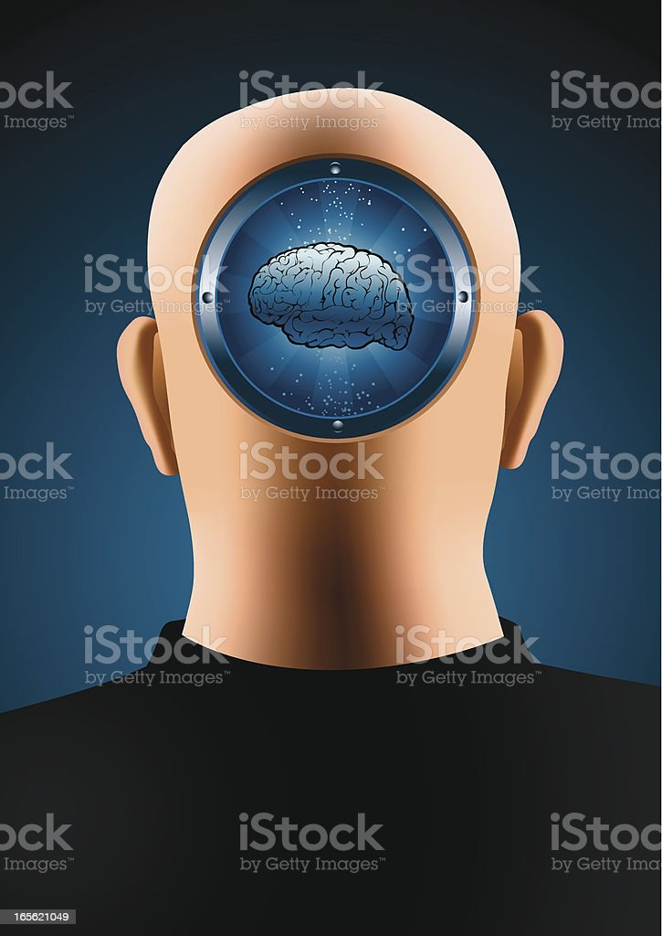 Bald with brains royalty-free stock vector art