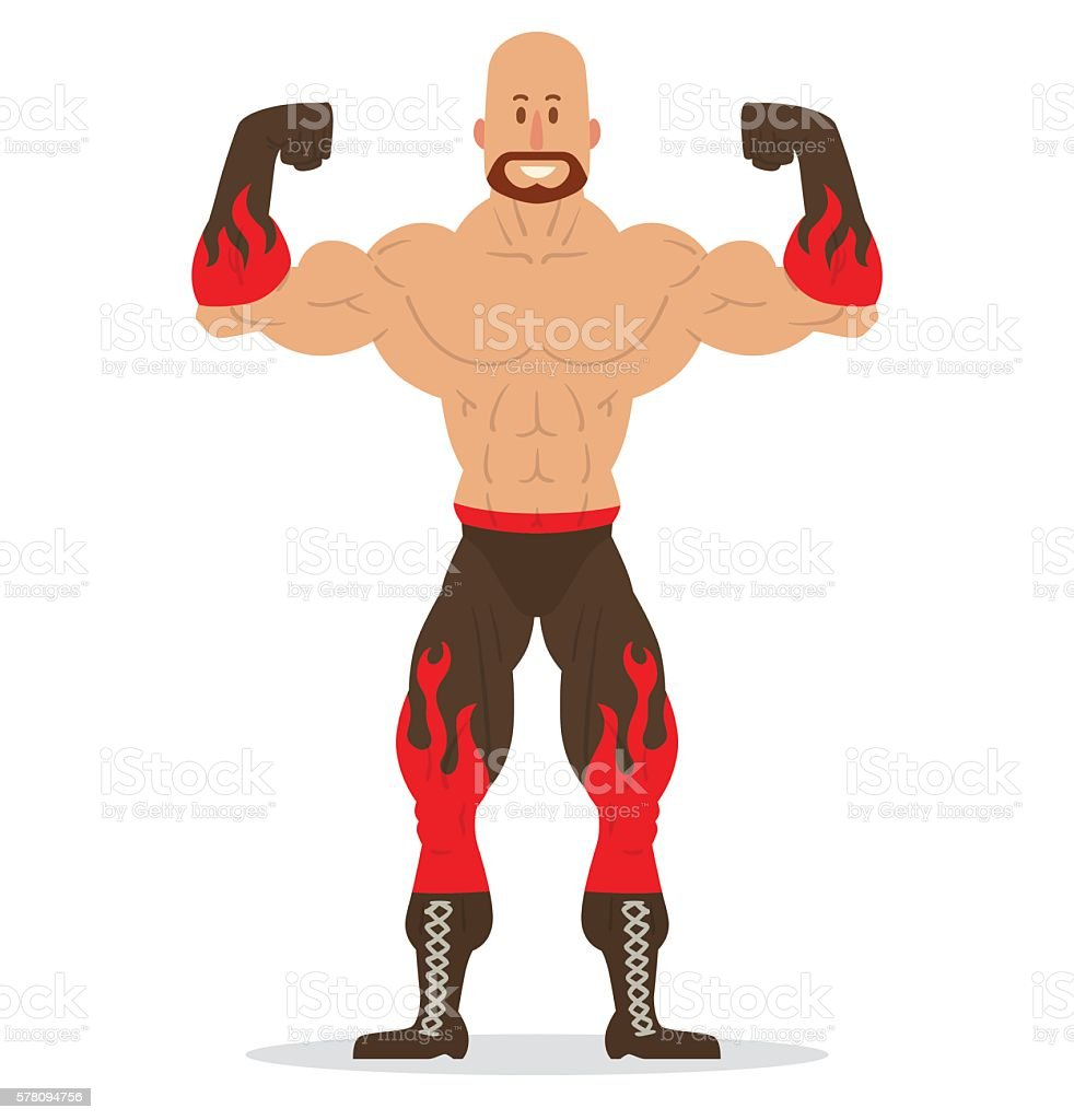 Bald wrestler with a beard vector art illustration