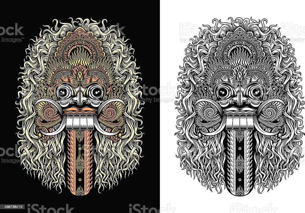 Balinese Demon Mask vector art illustration