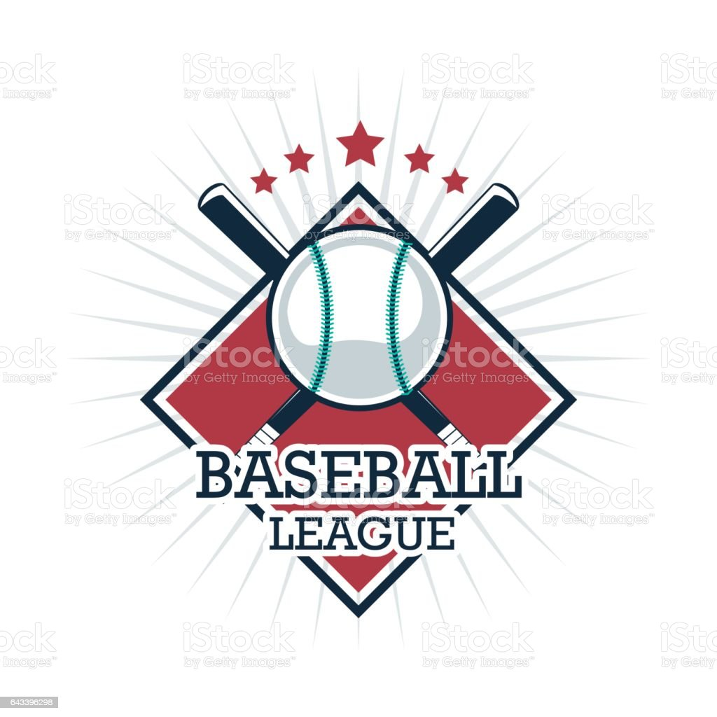 Baseball sport concept represented by ball and bat icon. Isolated and...