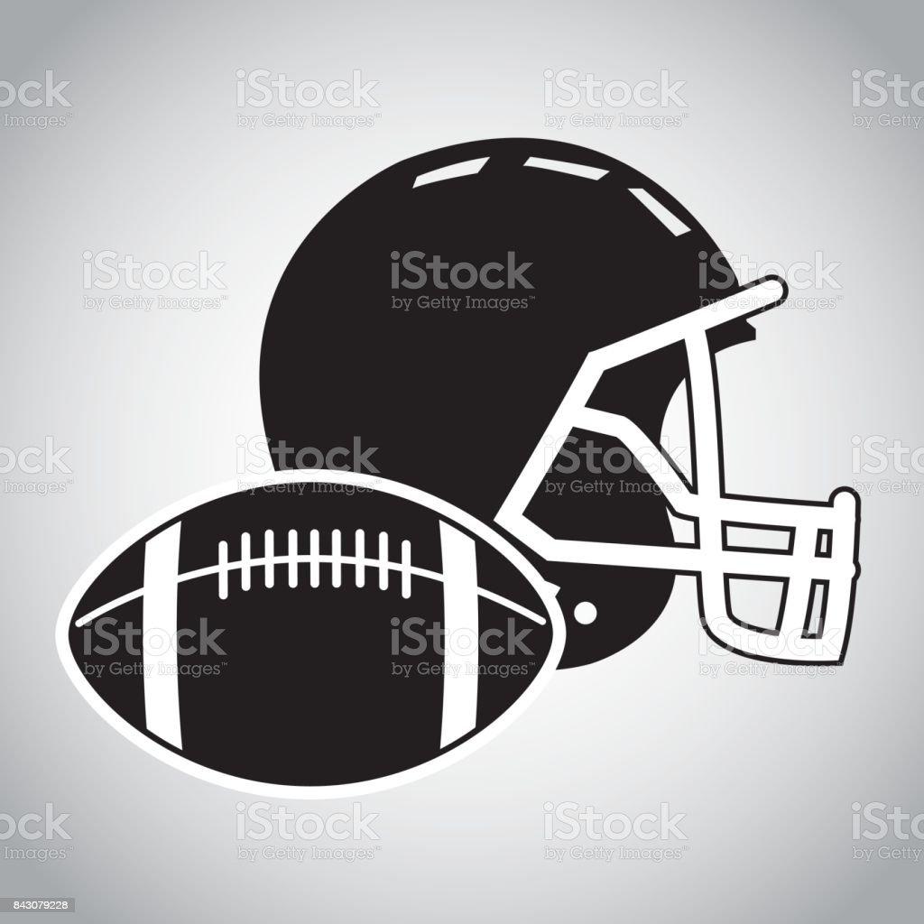 Ball and helmet of american football design vector art illustration