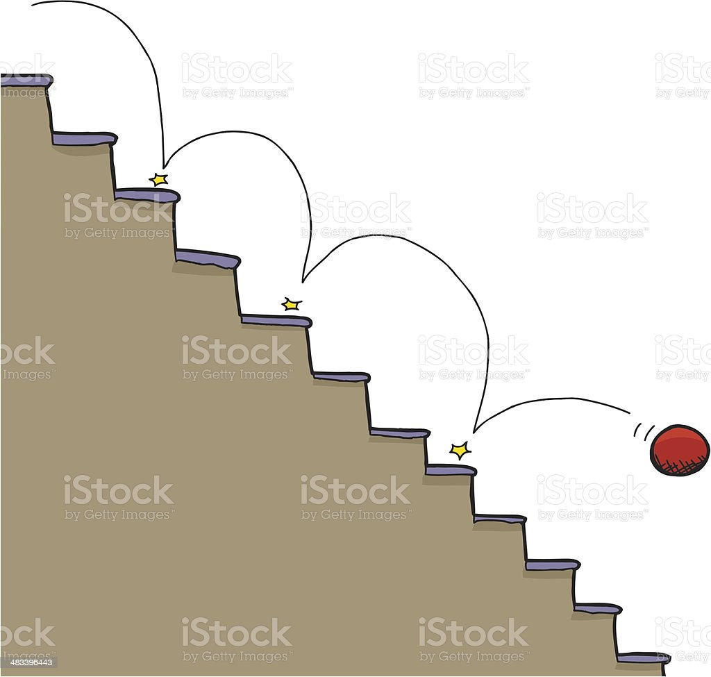 Ball and Staircase vector art illustration