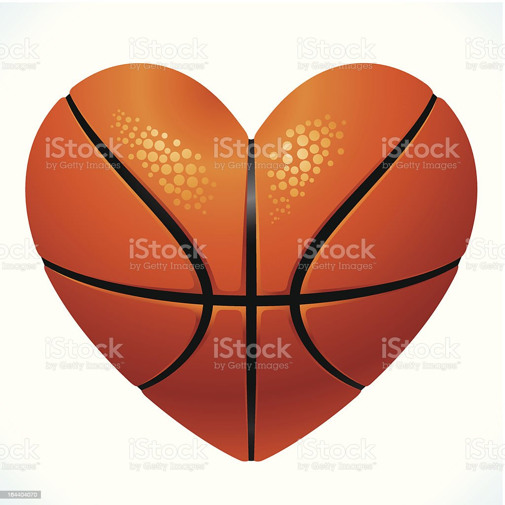 Ball for basketball in the shape of heart royalty-free stock vector art