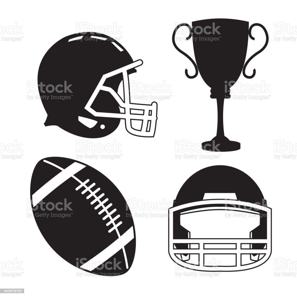 Ball helmet and trophy of american football design vector art illustration