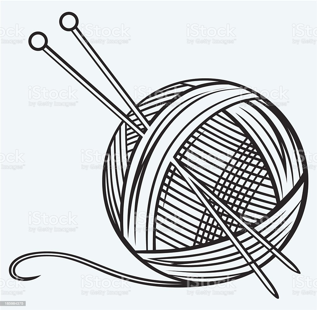 Ball of yarn and needles vector art illustration