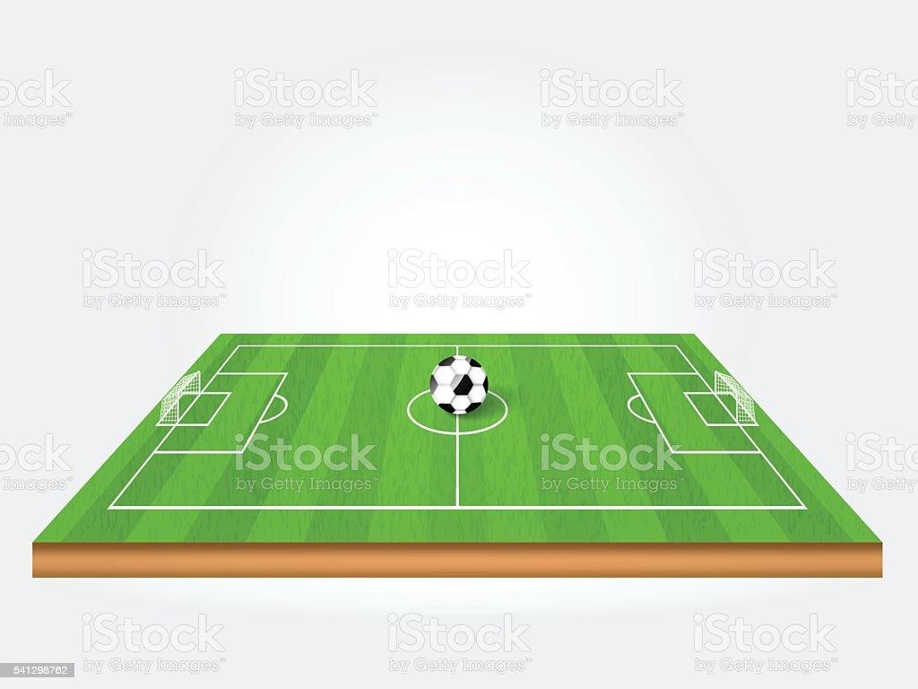 ball on green soccer field or football field vector art illustration