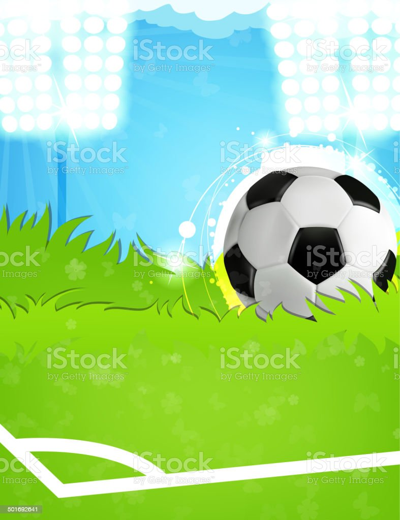 Ball on the soccer field royalty-free stock vector art