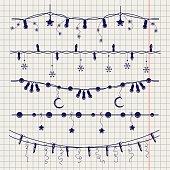 Ball pen sketch of christmas garlands