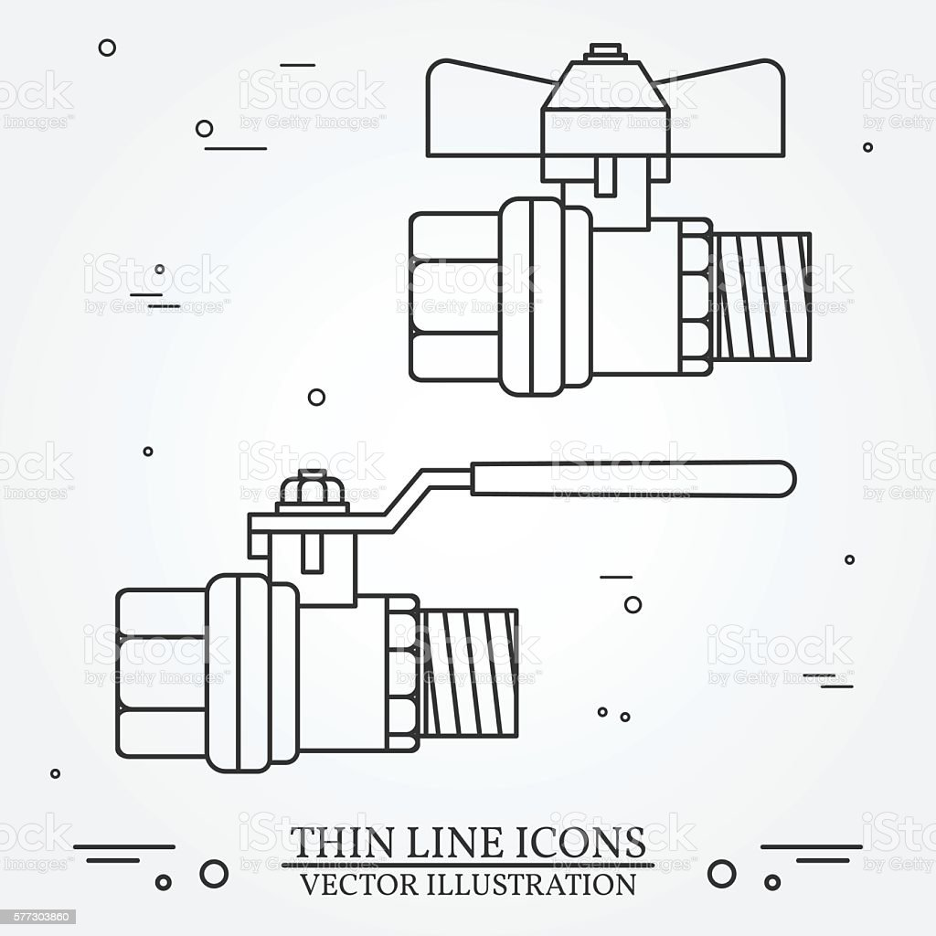 Ball valve icons thin line for web and mobile vector art illustration