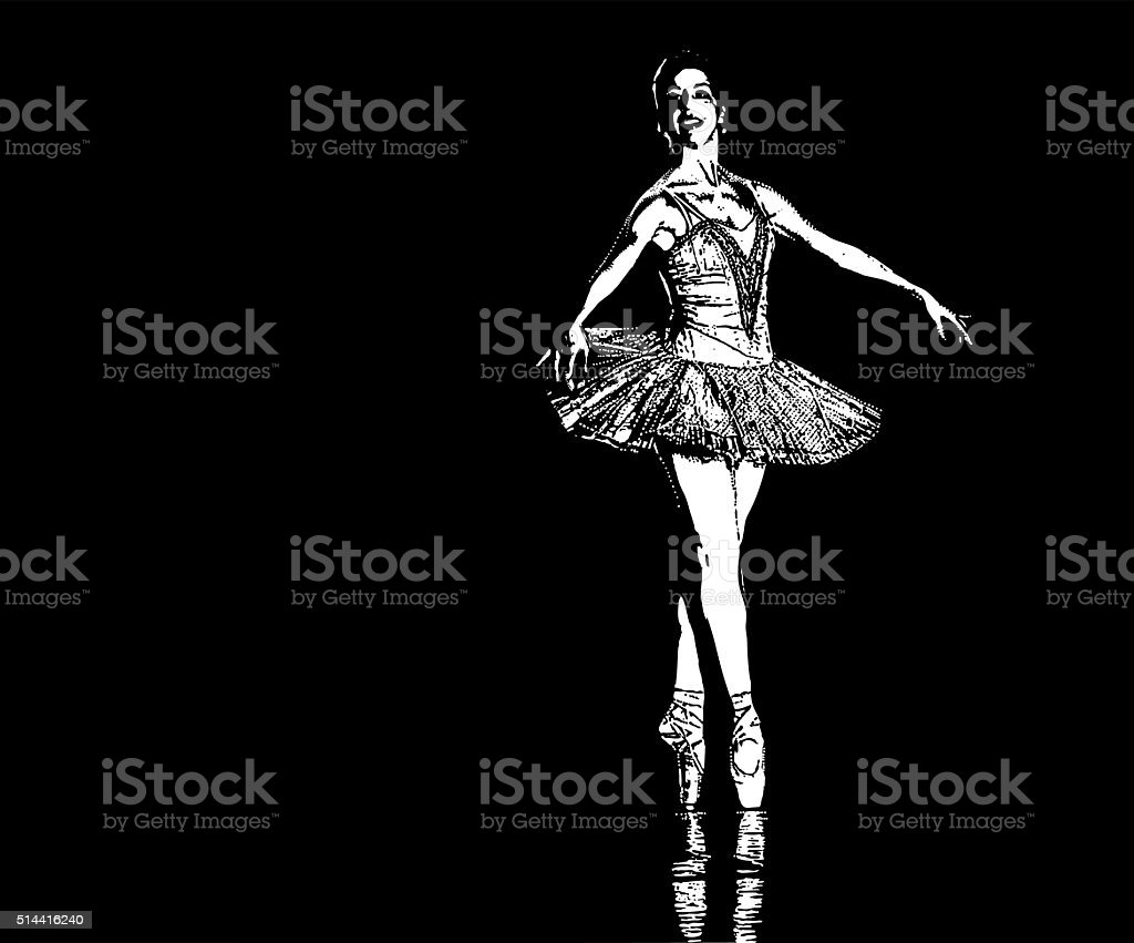 Ballerina dancing on stage. Isolated on black background vector art illustration