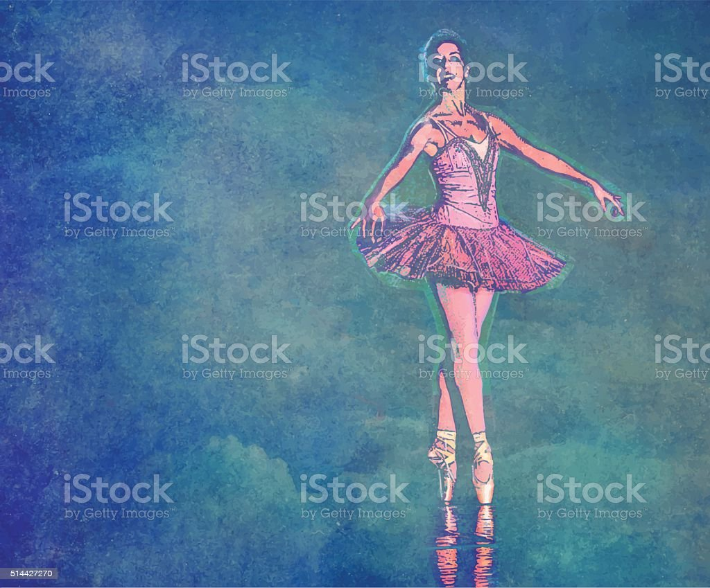 Ballerina Dancing with Textured Clouds Background vector art illustration