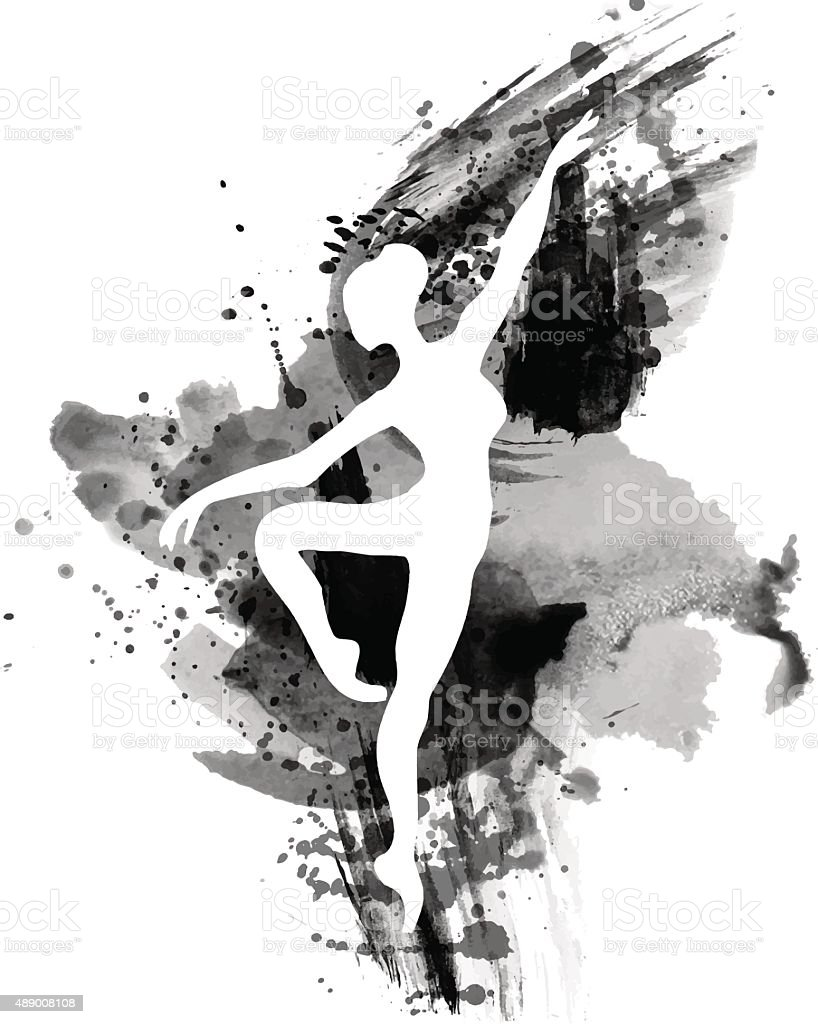 Ballerina in dance. watercolor black and white vector art illustration