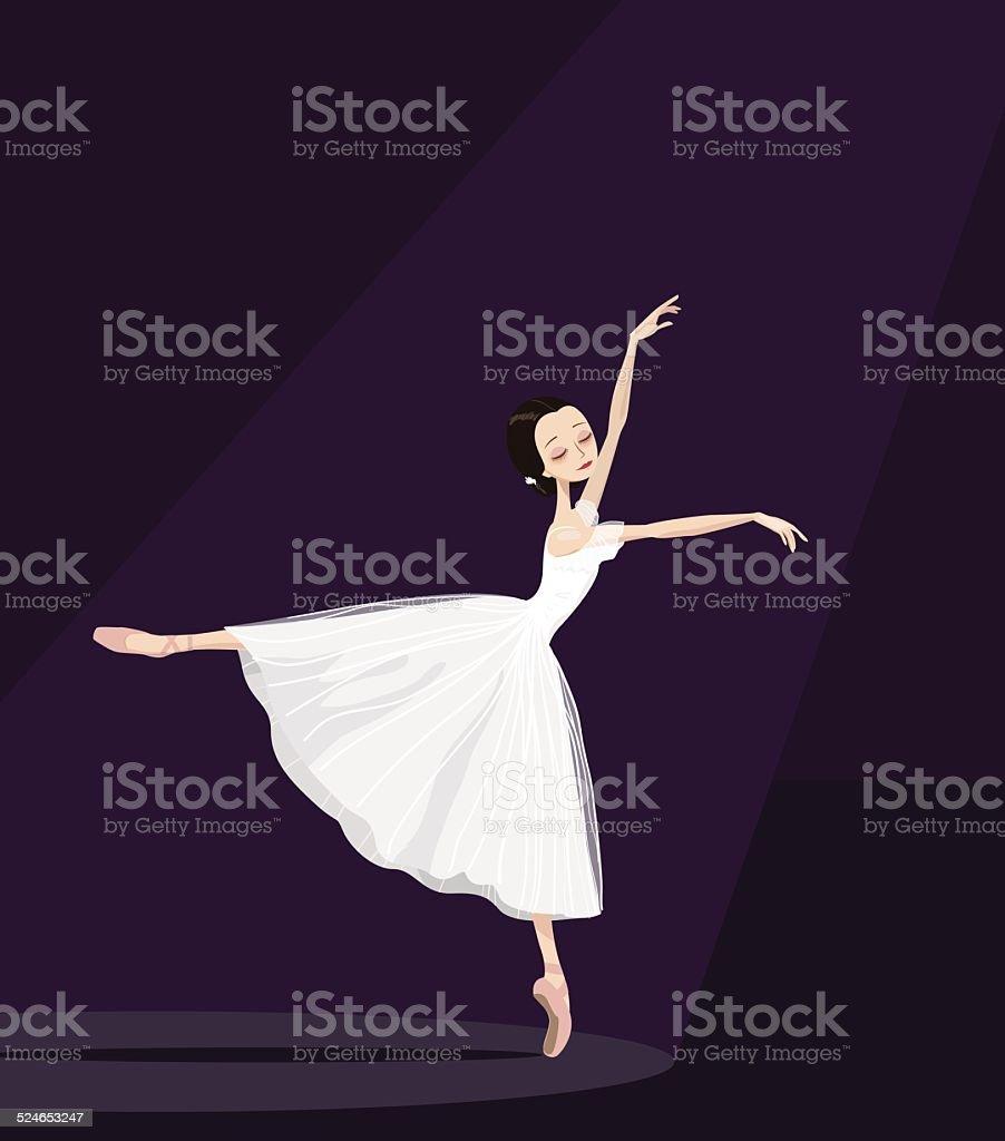 ballerina on stage. vector art illustration
