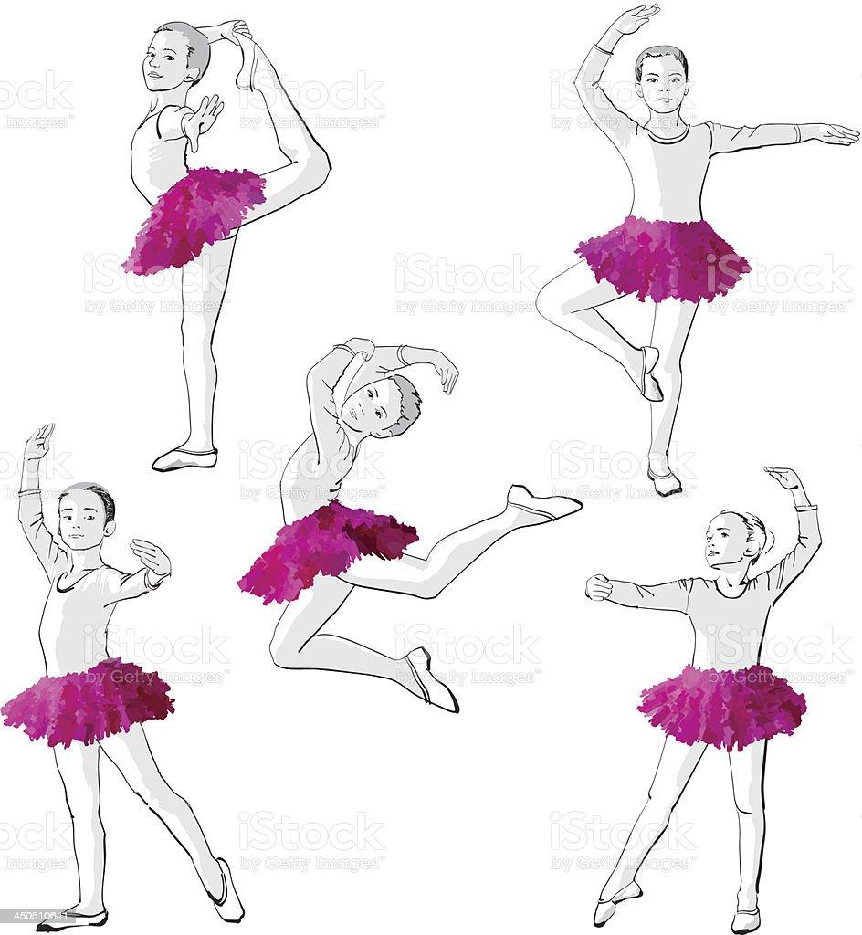 Ballerinas meninas dançando crianças vetor e ilustração royalty-free royalty-free