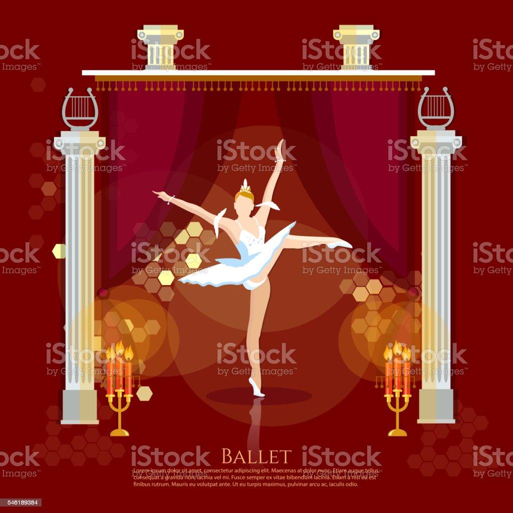 Ballet ballerina dancing on a theater stage vector art illustration