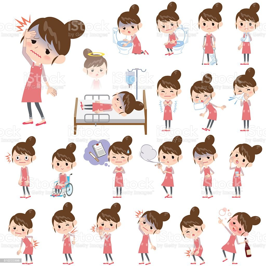 Ballet Bun hair Apron mom About the sickness vector art illustration