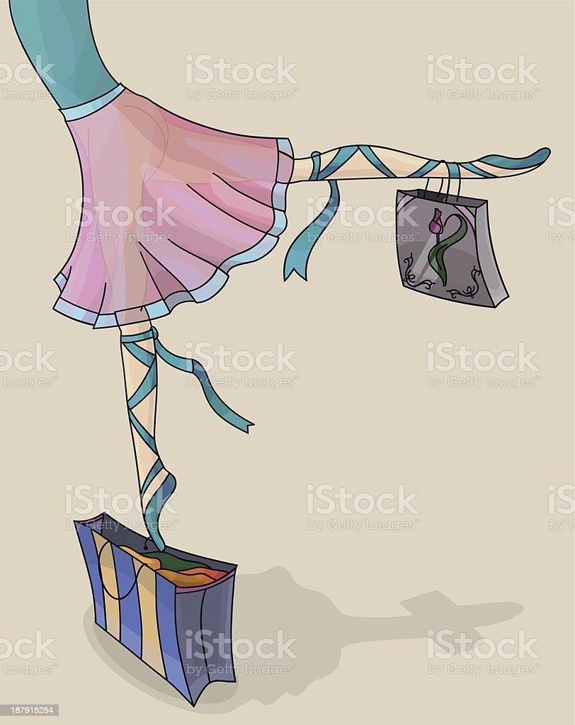 Ballet Dancer Ballerina with multicolor Shopping Bags royalty-free stock vector art