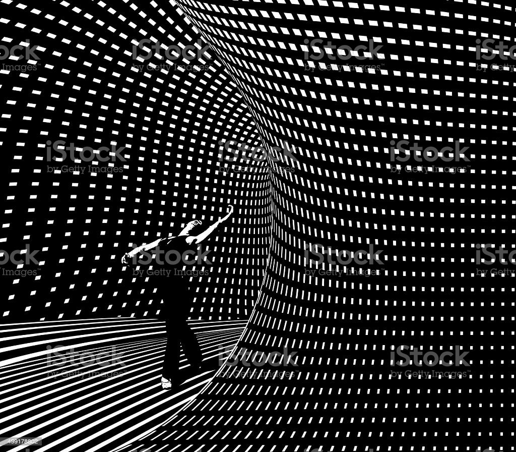 Ballet Dancer Leaving Halftone Pattern Futuristic Portal vector art illustration