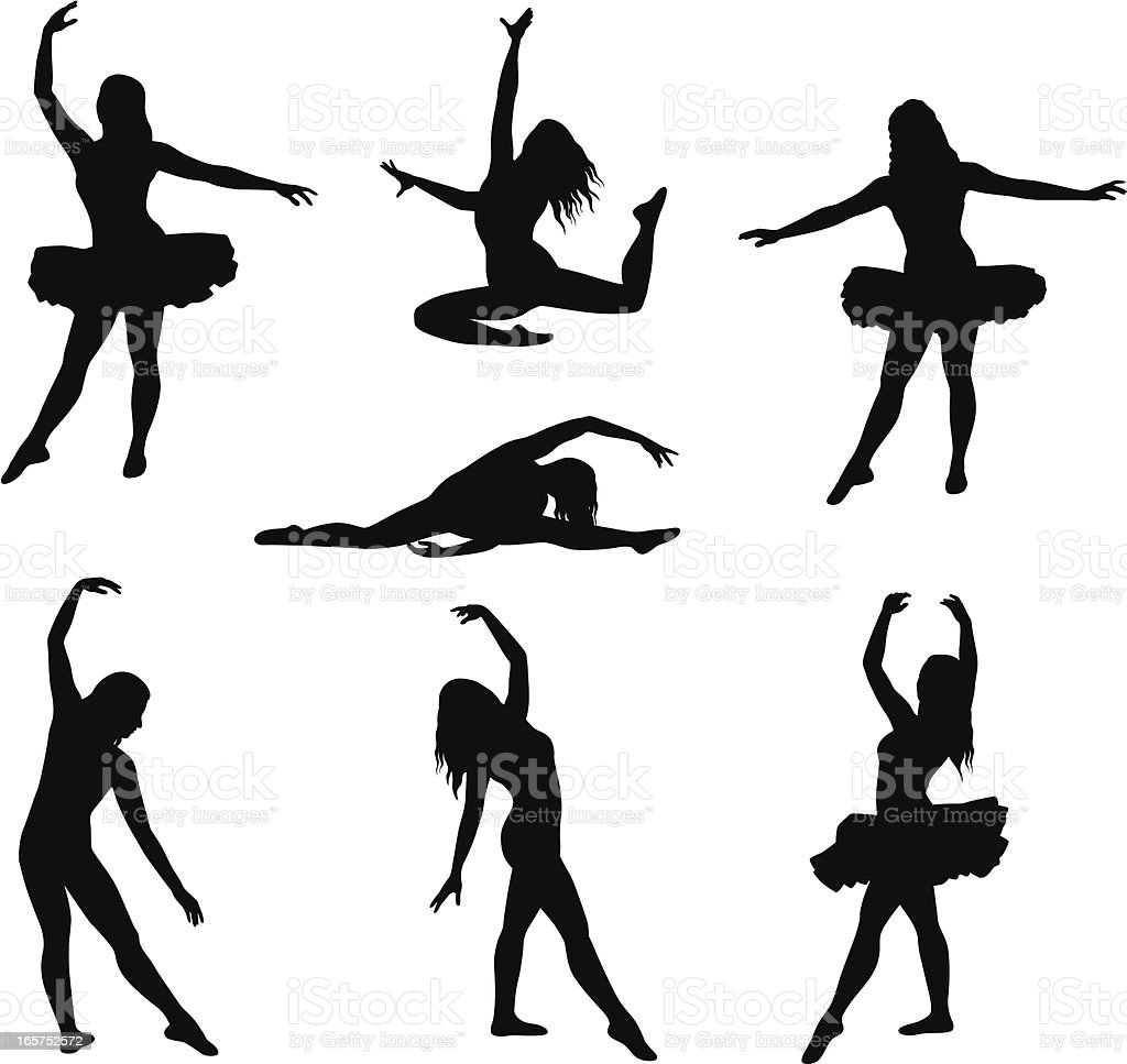 Ballet Seven Vector Silhouette royalty-free stock vector art