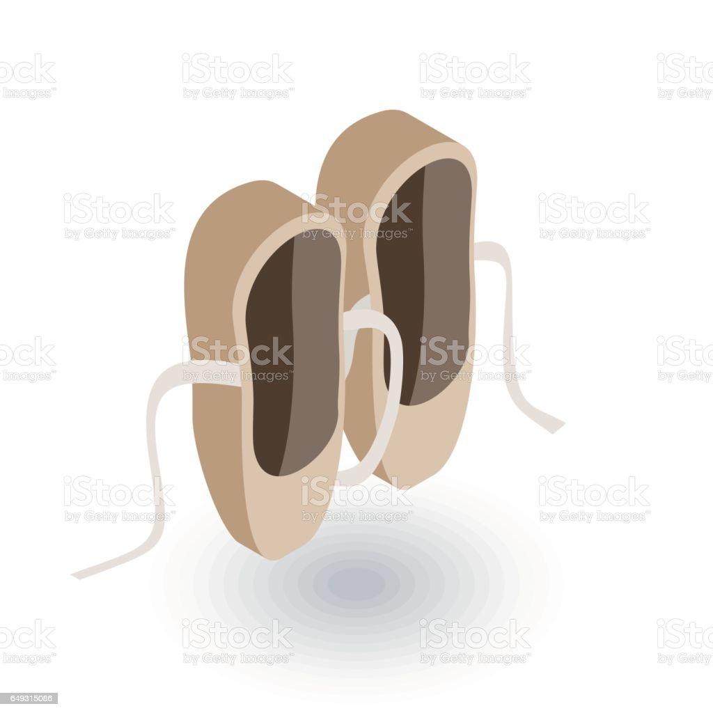 Ballet shoes isometric flat icon. 3d vector vector art illustration