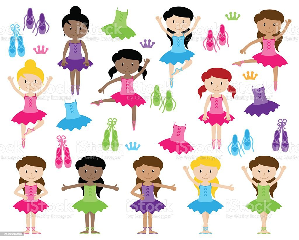 Ballet Themed Vector Collection with Diverse Girls vector art illustration