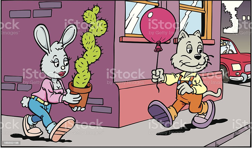 balloon and cactus vector art illustration