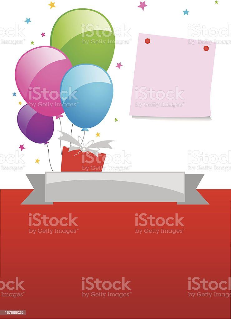 Balloon and note pad design royalty-free stock vector art