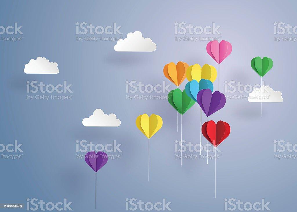 balloon in a heart shape. vector art illustration