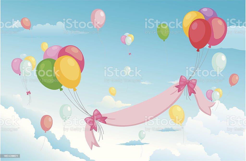 balloon in the sky royalty-free stock vector art