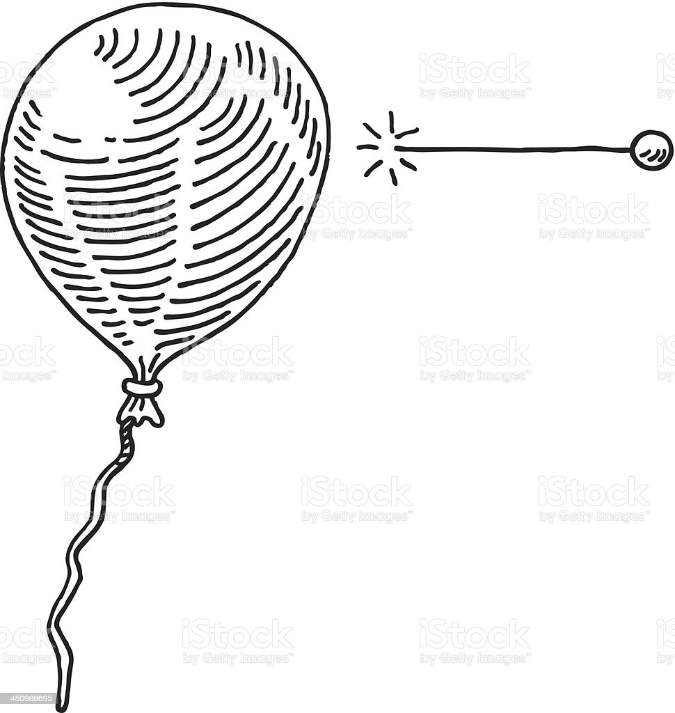 Balloon Needle Drawing royalty-free stock vector art