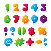 Balloon numbers vector set.