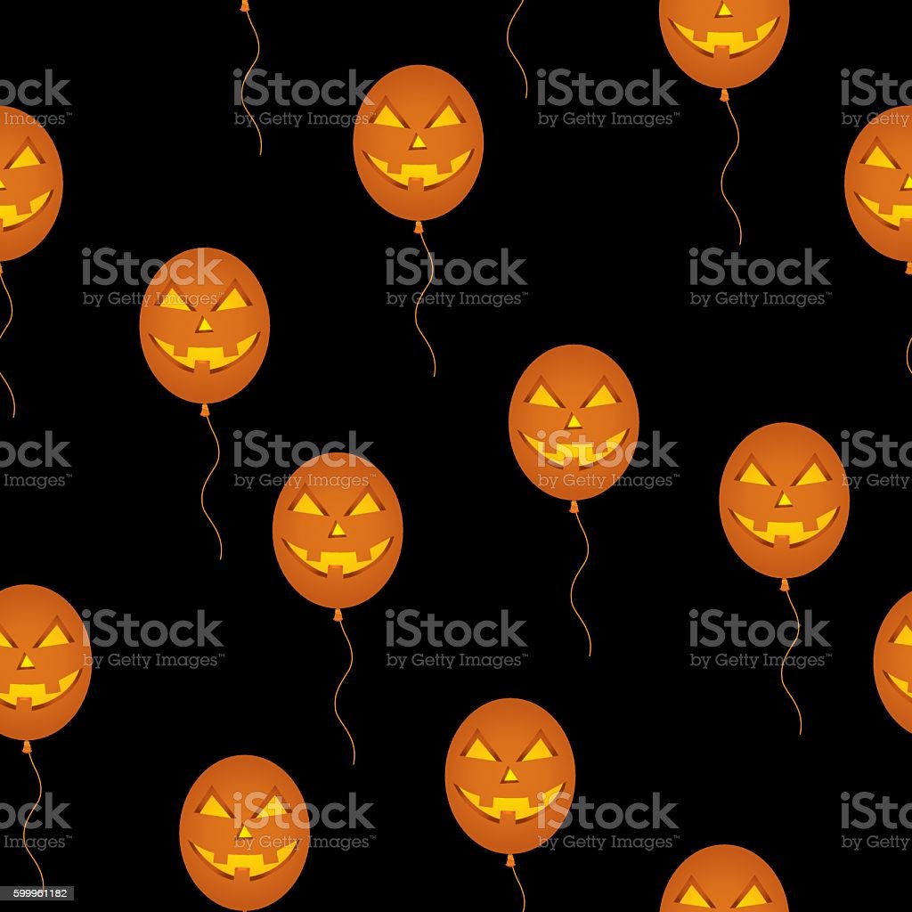 Balloon Pumpkins Seamless Pattern vector art illustration