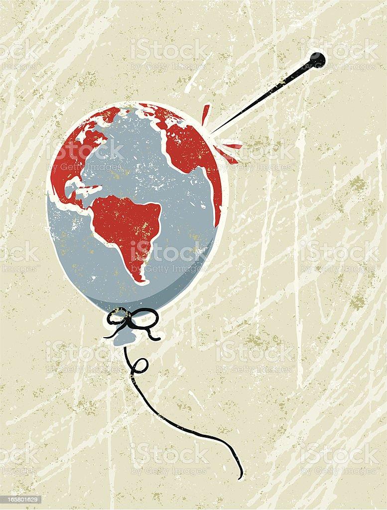 Balloon shaped World Globe and Pin royalty-free stock vector art