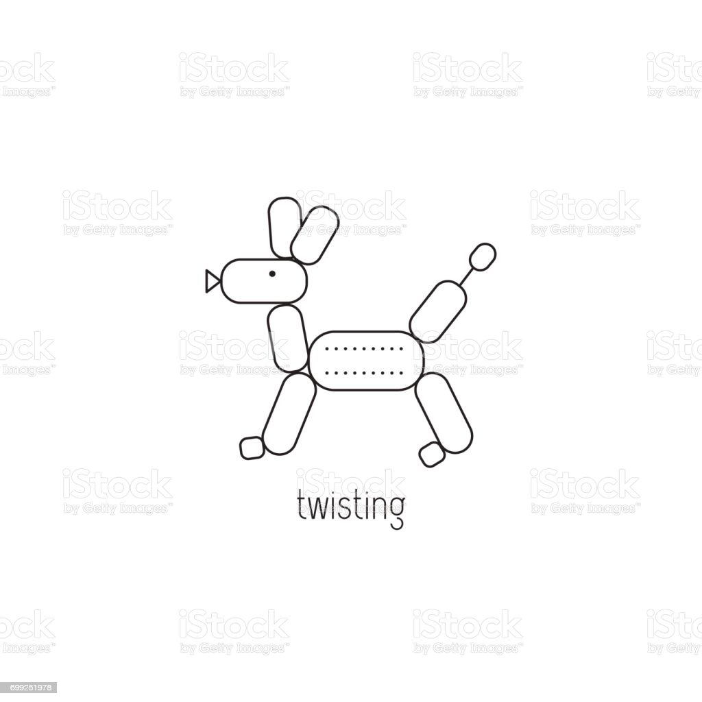 Balloon twisting line icon vector art illustration