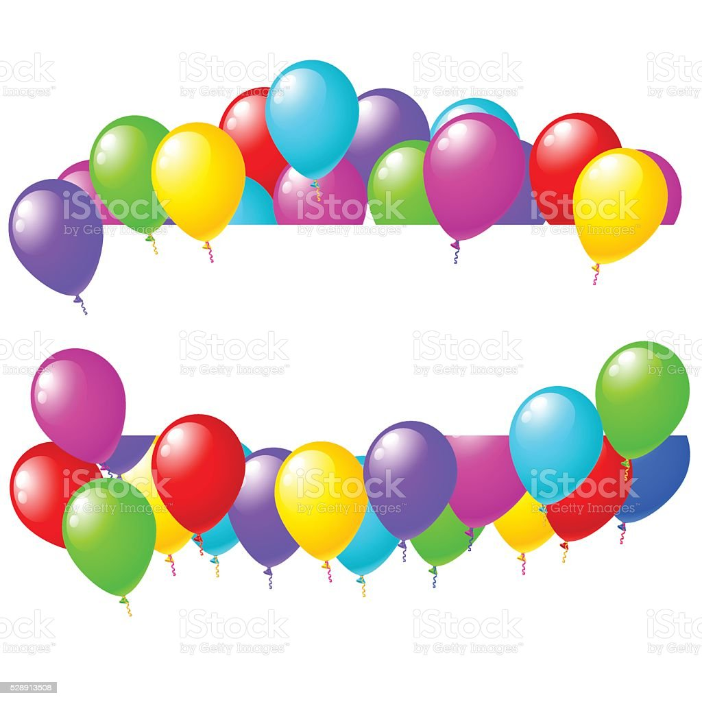Balloons banner sign with party balloons isolated on white background vector art illustration