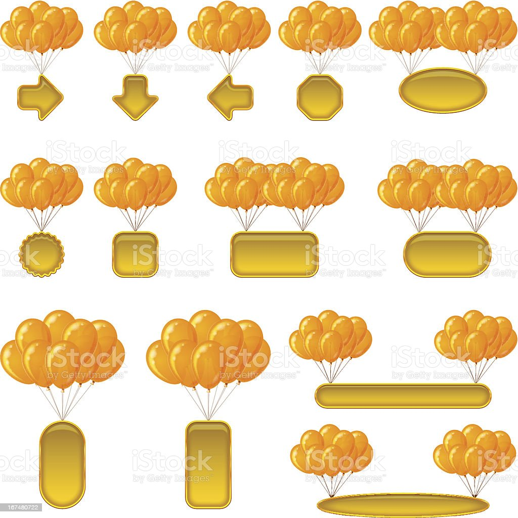 Balloons bunches with banners, set royalty-free stock vector art