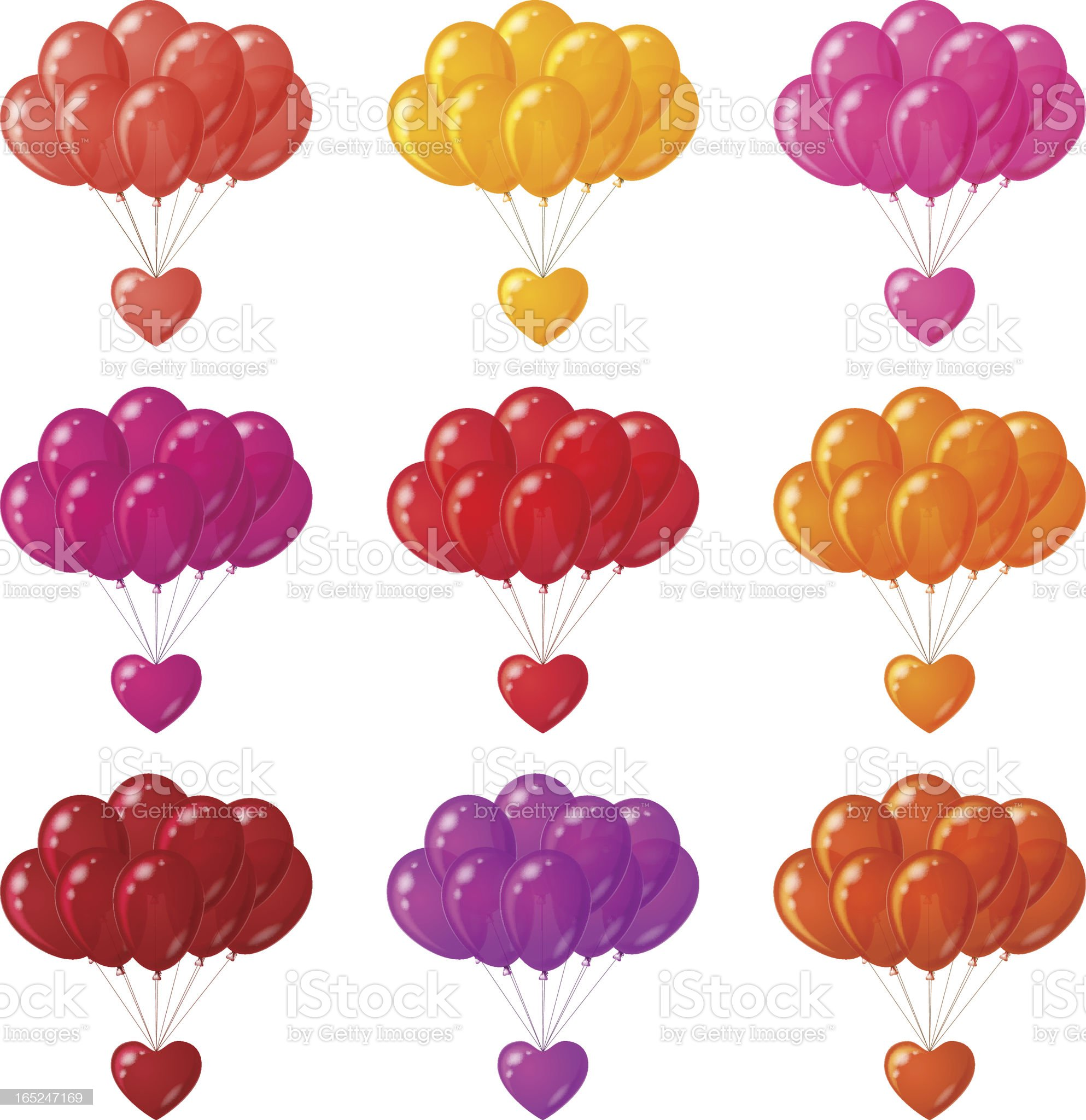 Balloons bunches with hearts, set royalty-free stock vector art