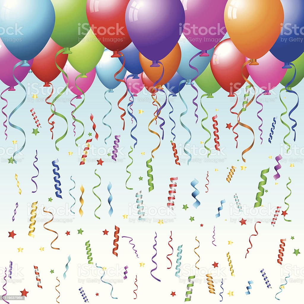 Balloons, confetti and streamers royalty-free stock vector art