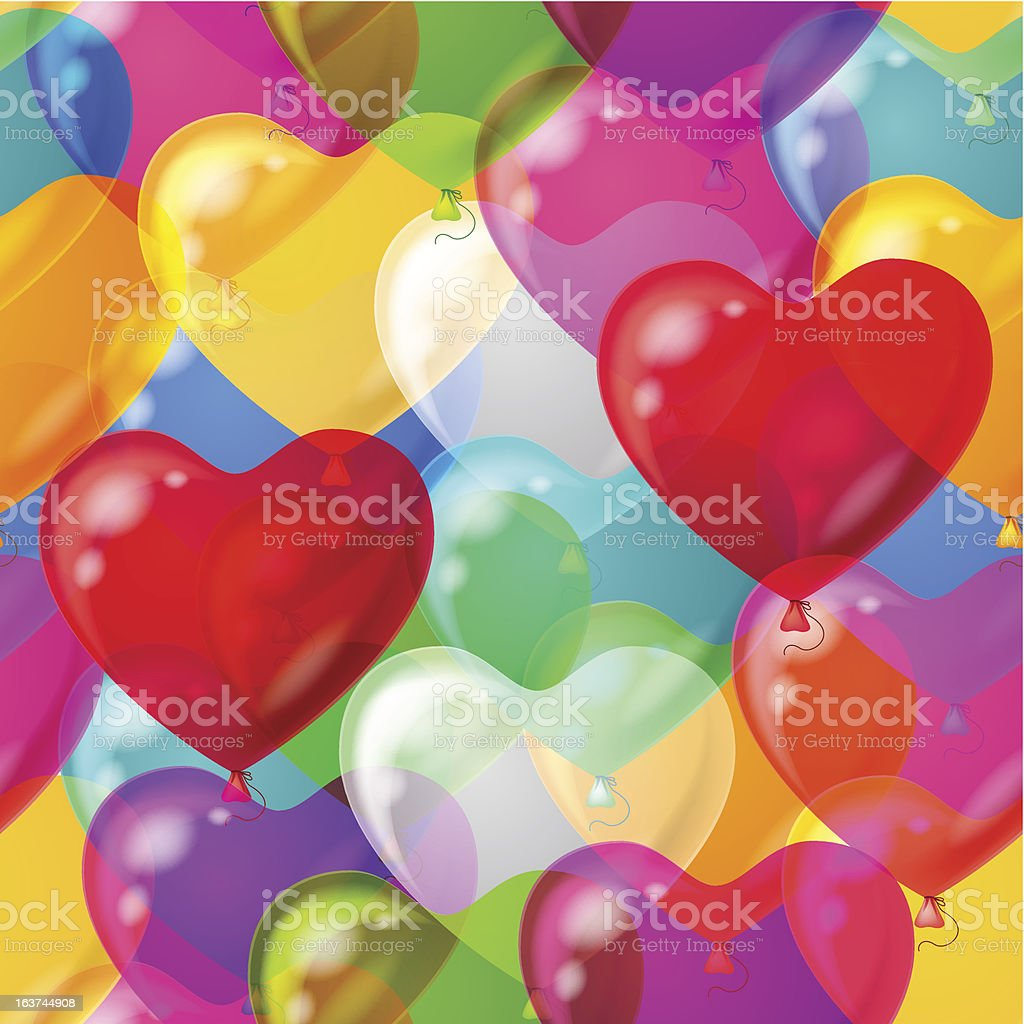 Balloons hearts background seamless royalty-free stock vector art