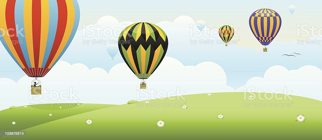Balloons In Flight royalty-free stock vector art