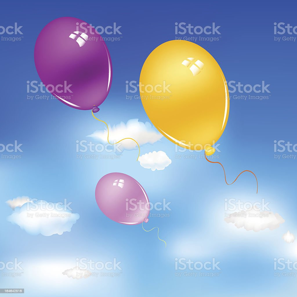 Balloons In Sky royalty-free stock vector art