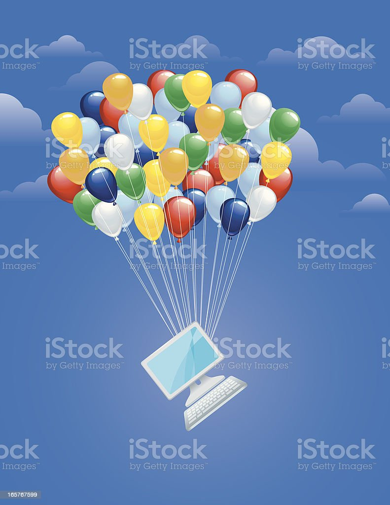 Balloons lifting computer royalty-free stock vector art