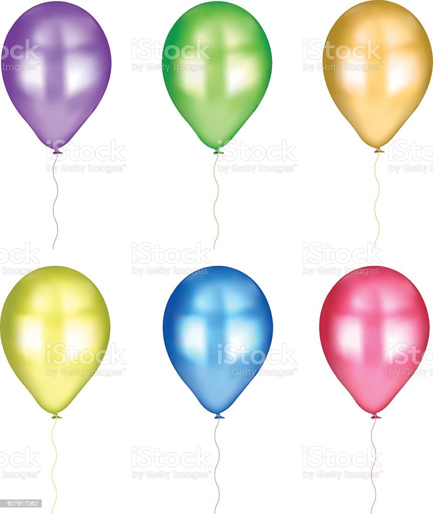 Balloons of several colors isolated on white background vector art illustration