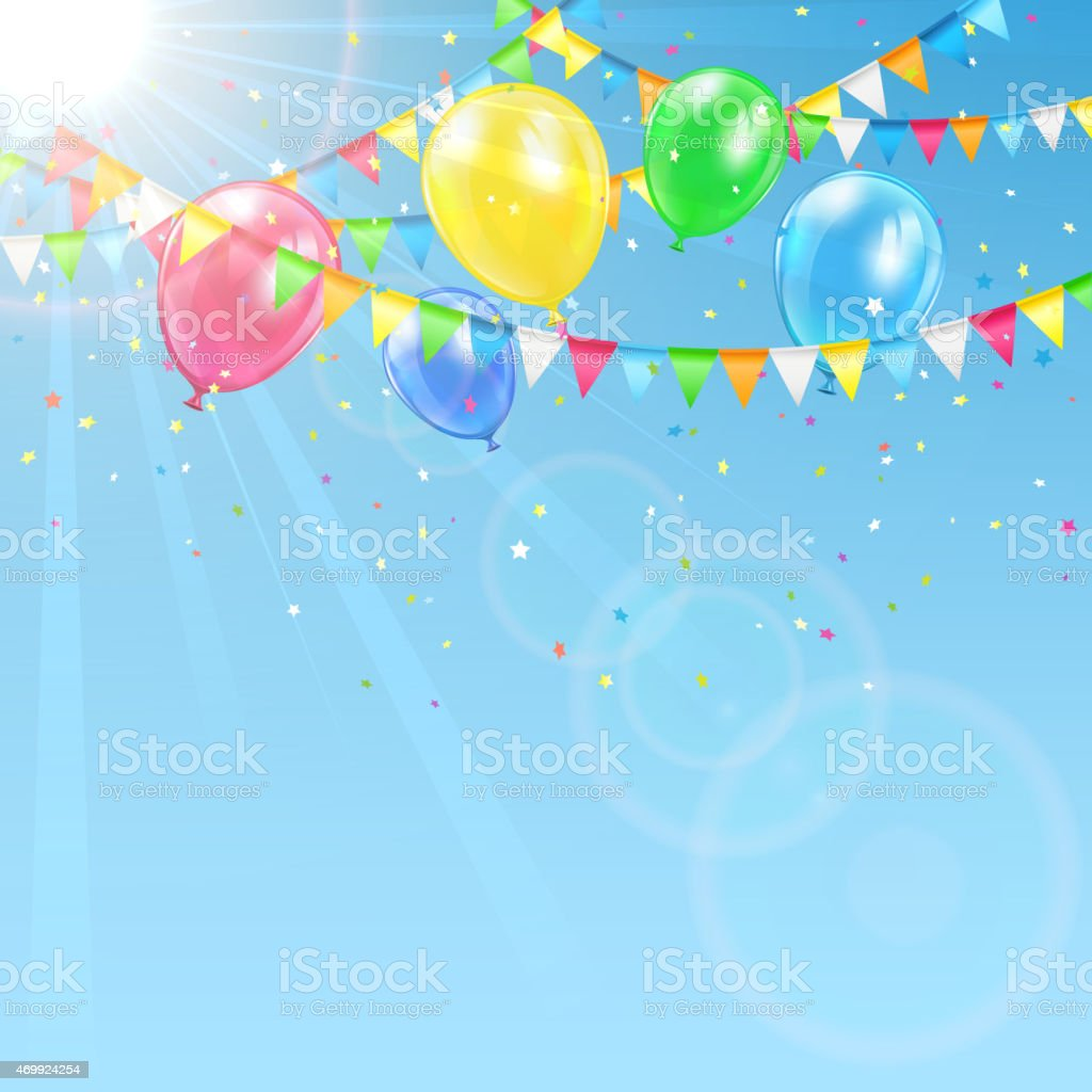 Balloons on sky background vector art illustration