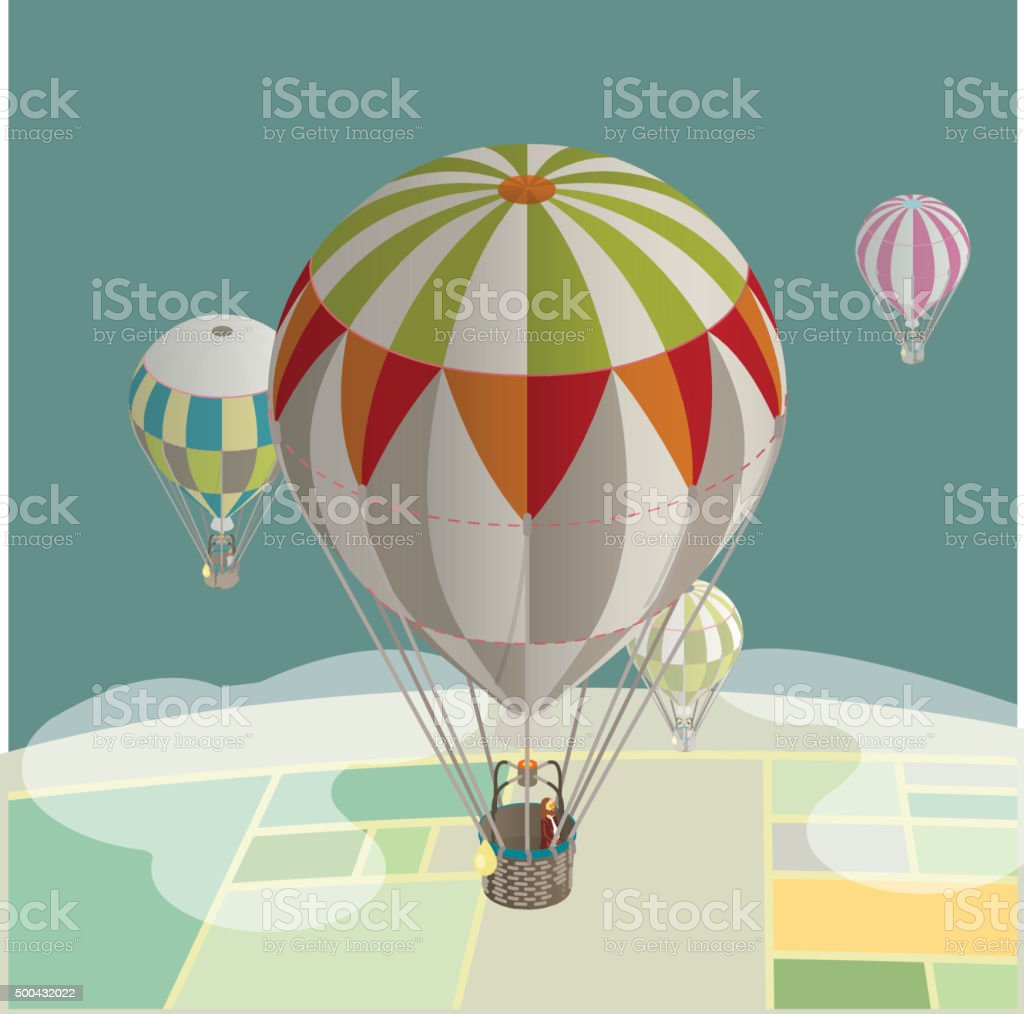 balloons over fields stock photo